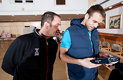 Sokol Kadrija and Matjaz Brumen of Slovenian Handball Men National Team when they get new clothes of Sportina Group for the EHF European Championship EURO 2012 in Serbia, on January 11, 2011, in Zrece, Slovenia. (Photo by Vid Ponikvar / Sportida)