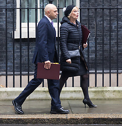 Downing Street, London, December 8th 2015. Business Secretary Sajid Javid and  Small Business Minister Anna Soubry leave Downing Street following the weekly cabinet meeting.