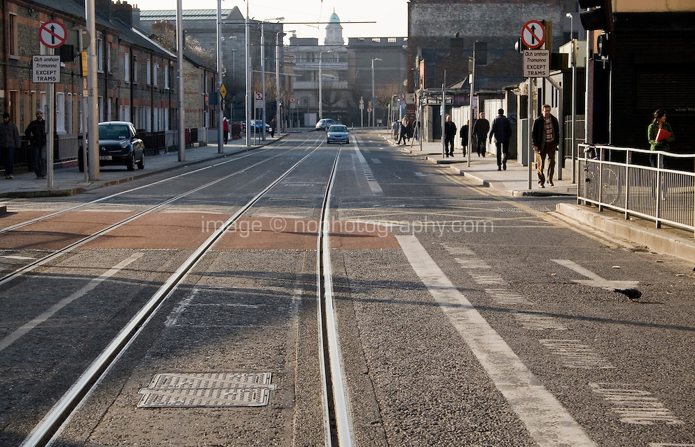 LUAS tram lines in Dublin city centre Ireland