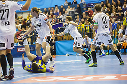 Arnarsson Arnar Freyr 5# of IFK Kristianstad  and Zarabec Miha #23 of RK Celje Pivovarna Lasko during handball match between RK Celje Pivovarna Lasko (SLO) and IFK Kristianstad (SWE) in Group phase of EHF Men's Champions League 2016/17, on February 11, 2017 in Arena Zlatorog, Celje, Slovenia. Photo by Grega Valancic