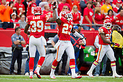 KANSAS CITY, MO - SEPTEMBER 26:   Brandon Carr #39 and Kendrick Lewis #23 of the Kansas City Chiefs celebrate after a big play against the San Francisco 49ers at Arrowhead Stadium on September 26, 2010 in Kansas City, Missouri.  The Chiefs defeated the 49ers 31-10.  (Photo by Wesley Hitt/Getty Images) *** Local Caption *** Brandon Carr; Kendrick Lewis