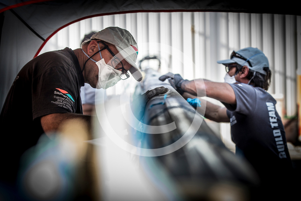 December 15, 2014. It's all go in The Boatyard as the experts give these boats some TLC during the Abu Dhabi stopover.