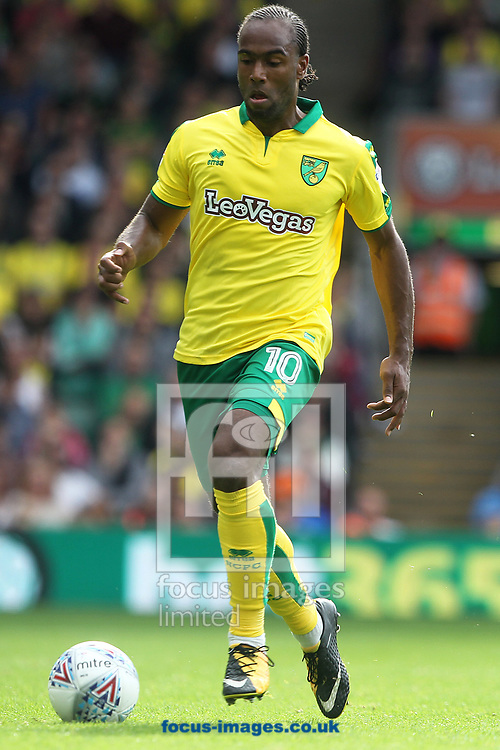 Cameron Jerome of Norwich in action during the Sky Bet Championship match at Carrow Road, Norwich<br /> Picture by Paul Chesterton/Focus Images Ltd +44 7904 640267<br /> 23/09/2017