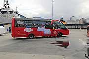 City Sightseeing bus in the harbour area, Bergen, Norway