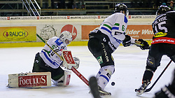 26.10.2015, Messestadion, Dornbirn, AUT, EBEL, Dornbirner Eishockey Club vs HDD Telemach Olimpija Ljubljana, 16. Runde, im Bild v.l. Tomaz Trelc, (HDD Telemach Olimpija Ljubljana, #95), Bostjan Groznik, (HDD Telemach Olimpija Ljubljana, #06) und Chris D'Alvise, (Dornbirner Eishockey Club, #15)// during the Erste Bank Icehockey League 16th round match between Dornbirner Eishockey Club and HDD Telemach Olimpija Ljubljana at the Messestadion in Dornbirn, Austria on 2015/10/26, EXPA Pictures © 2015, PhotoCredit: EXPA/ Peter Rinderer