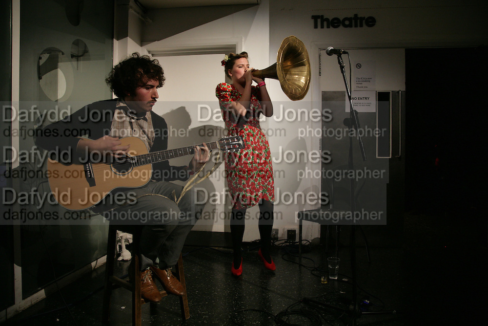 Plaster of Paris. Lewis and Molly play at the Institute of Contemporary Arts. 12 May 2007.  -DO NOT ARCHIVE-© Copyright Photograph by Dafydd Jones. 248 Clapham Rd. London SW9 0PZ. Tel 0207 820 0771. www.dafjones.com.