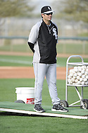 GLENDALE, AZ - FEBRUARY 19:  Manager Robin Ventura #23 of the Chicago White Sox looks on during spring training workouts on February 19, 2014 at The Ballpark at Camelback Ranch in Glendale, Arizona. (Photo by Ron Vesely)   Subject: Robin Ventura