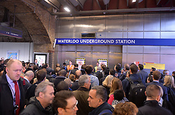 Pictured are commuters waiting to travel in taxi's at London's Waterloo Station after strikes by staff on London Underground.<br /> Tuesday, 29th April 2014. Picture by Ben Stevens / i-Images