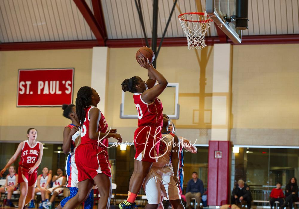 St Paul's School girls basketball with Holderness.  ©2016 Karen Bobotas Photographer