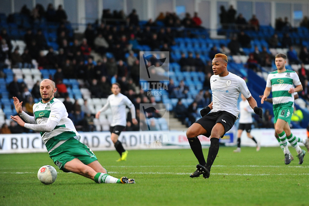 TELFORD COPYRIGHT MIKE SHERIDAN Telford's Marcus Dinanga shoots at goal under pressure from Jack Higgins during the Vanarama Conference North fixture between Darlington and Farsley Celtic at Tge New Bucks head Stadium on Saturday, December 7, 2019.<br /> <br /> Picture credit: Mike Sheridan/Ultrapress<br /> <br /> MS201920-033