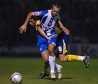 Photo: Ashley Pickering/Sportsbeat Images.<br /> Colchester United v Leicester City. Coca Cola Championship. 03/11/2007.<br /> Alan Sheehan of Leicester (yellow) holds onto Karl Duguid of Colchester