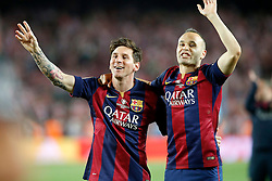 30.05.2015, Camp Nou, Barcelona, ESP, Copa del Rey, Athletic Club Bilbao vs FC Barcelona, Finale, im Bild FC Barcelona's Leo Messi (l) and Andres Iniesta celebrate the victory // during the final match of spanish king's cup between Athletic Club Bilbao and Barcelona FC at Camp Nou in Barcelona, Spain on 2015/05/30. EXPA Pictures &copy; 2015, PhotoCredit: EXPA/ Alterphotos/ Acero<br /> <br /> *****ATTENTION - OUT of ESP, SUI*****
