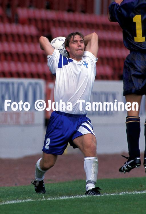 06.09.1995, Broadwood Stadium, Cumbernauld, Scotland..UEFA Under-21 European Championship / Olympic Qualifying Match, Scotland v Finland. .Jani Keula (FIN U-21).©JUHA TAMMINEN