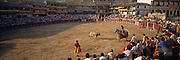SPAIN, SPORTS; BULLFIGHTING Traditional corrida in Chinchon in Plaza Mayor; 1st part mounted picador placing pics or puyazos