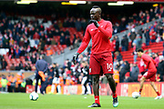 Liverpool forward Sadio Mane (10) warming up during the Premier League match between Liverpool and Burnley at Anfield, Liverpool, England on 10 March 2019.