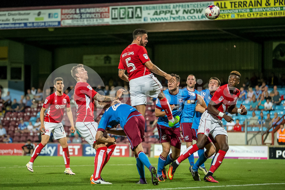 Derrick Williams of Bristol City heads towards goal during the EFL Cup second round match between Scunthorpe United and Bristol City at Glanford Park, Scunthorpe, England on 23 August 2016. Photo by James Williamson.