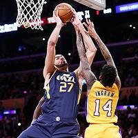 05 December 2016: Utah Jazz center Rudy Gobert (27) grabs a rebound against Los Angeles Lakers forward Brandon Ingram (14) during the Utah Jazz 107-101 victory over the Los Angeles Lakers, at the Staples Center, Los Angeles, California, USA.