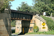 An old rail road bridge and underpass in rural Albemarle County, Virginia.