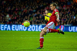 COPENHAGEN, DENMARK - Sunday, October 11, 2015: Denmark's captain Daniel Agger in action during the friendly game against France at Parken Stadium. (Pic by Lexie Lin/Propaganda)