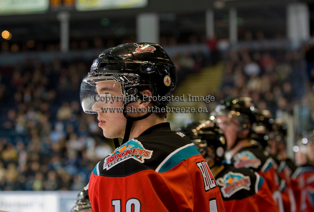 KELOWNA, CANADA, NOVEMBER 30: Brett Bulmer #19 of the Kelowna Rockets stands on the bench as the Tri City Americans visit the Kelowna Rockets  on November 30, 2011 at Prospera Place in Kelowna, British Columbia, Canada (Photo by Marissa Baecker/Shoot the Breeze) *** Local Caption *** Brett Bulmer;