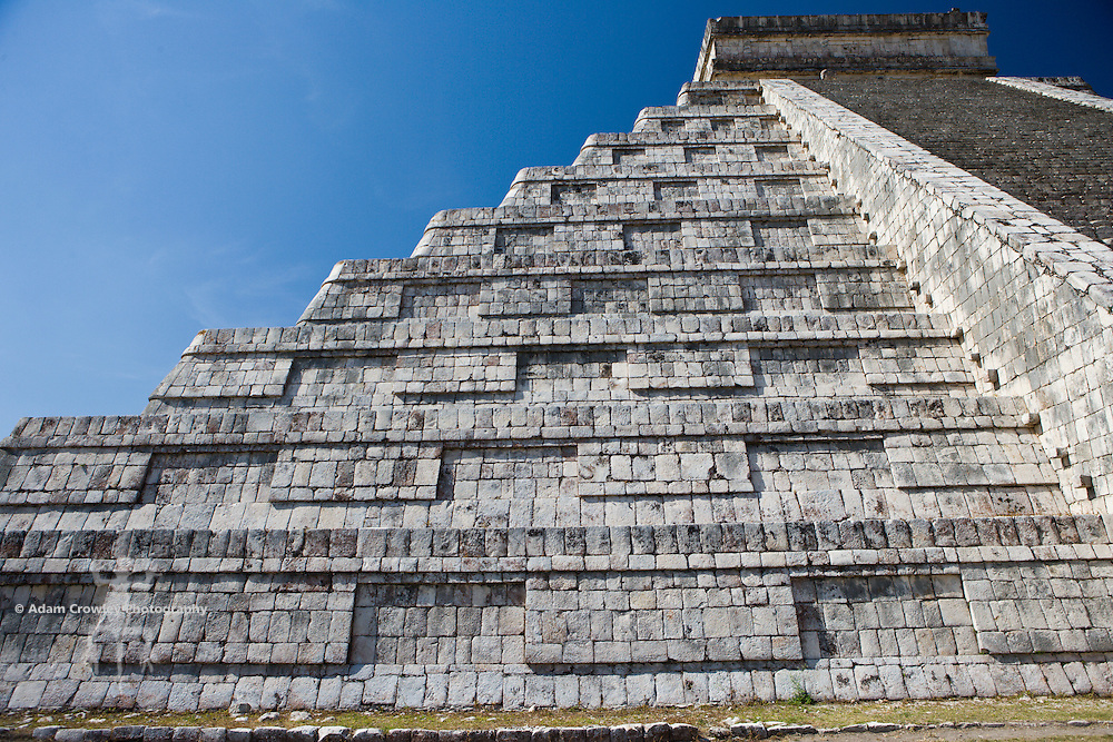 Pyramid of Kulkulkan, Chichen Itza, Yucatan, Mexico, close up.