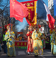 Paris .  13th  Chinese new year parade in China town .