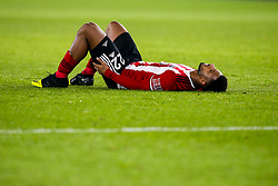 Lys Mousset of Sheffield United lies on the ground after picking up an injury - Mandatory by-line: Robbie Stephenson/JMP - 24/11/2019 - FOOTBALL - Bramall Lane - Sheffield, England - Sheffield United v Manchester United - Premier League