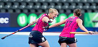 LONDON -  Unibet Eurohockey Championships 2015 in  London.  Scotland v Italy. Scottish.  Scottish celebration for the 3-0.  Kareena Marshall , who scored, with Nikki Kidd (r)    .WSP Copyright  KOEN SUYK