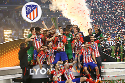 May 16, 2018 - Lyon, France - Olympique de Marseille v Atletico de Madrid - Uefa Europa League Final.Atletico celebrates with the cup during the award ceremony at Groupama Stadium in Lyon, France on May 16, 2018. (Credit Image: © Matteo Ciambelli/NurPhoto via ZUMA Press)