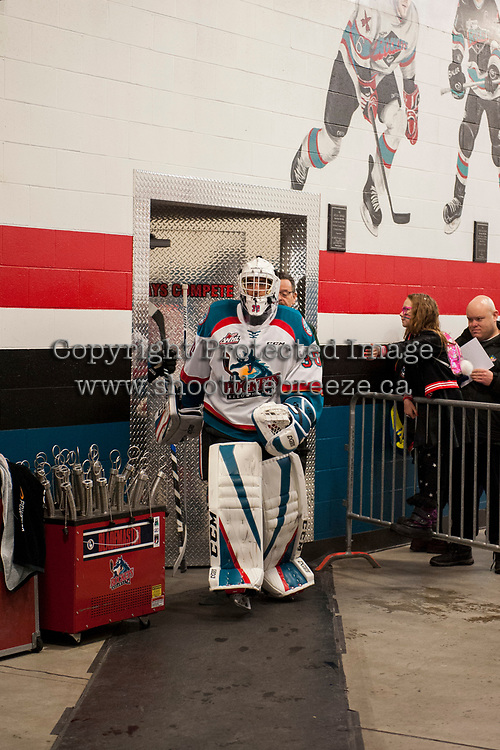 KELOWNA, CANADA - DECEMBER 30: Roman Basran #30 of the Kelowna Rockets exits the dressing room and walks to the ice against the Victoria Royals on December 30, 2017 at Prospera Place in Kelowna, British Columbia, Canada.  (Photo by Marissa Baecker/Shoot the Breeze)  *** Local Caption ***