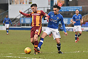 Oldham Athletic Midfielder, Kean Bryan (40) and Bradford City forward Shay McCartan (14)   during the EFL Sky Bet League 1 match between Oldham Athletic and Bradford City at Boundary Park, Oldham, England on 3 February 2018. Picture by Mark Pollitt.