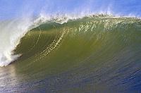 The barrel of a large wave breaking at sunrise in Ventura Harbor, California.