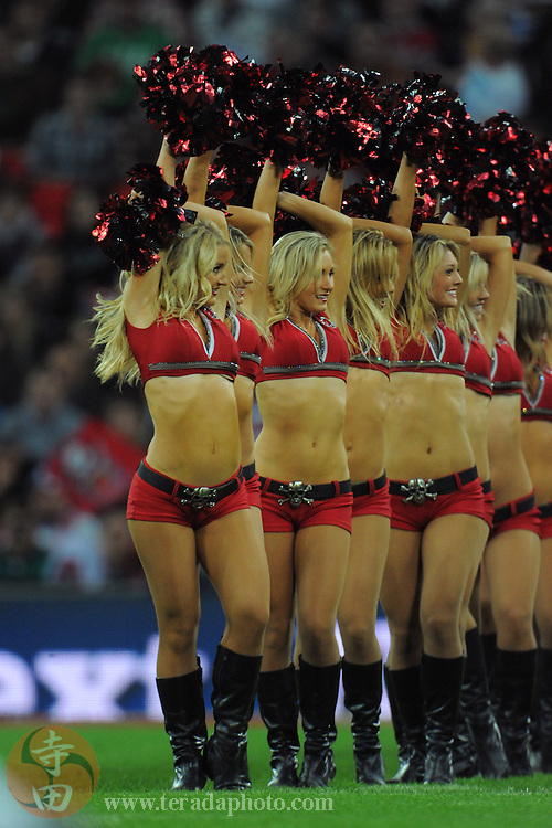 October 23, 2011; London, ENGLAND; Tampa Bay Buccaneers cheerleaders perform during the fourth quarter in the NFL International Series game against the Chicago Bears at Wembley Stadium. The Bears defeated the Buccaneers 24-18.