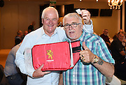 Rod Slater was rapped to win the Lion Red chilly bag. He reckons he will fill it with all the fish he catches. Sir Peter Leitch. Mad Butcher Xmas Luncheon, Ellerslie Racecourse. Wednesday 17 December 2014. Photo: Andrew Cornaga / www.photosport.co.nz