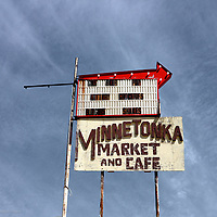 Retro sign for market and cafe in USA