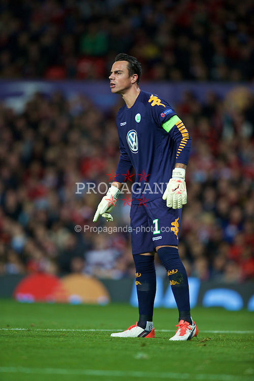 MANCHESTER, ENGLAND - Wednesday, September 30, 2015: VfL Wolfsburg's goalkeeper Diego Benaglio in action against Manchester United during the UEFA Champions League Group B match at Old Trafford. (Pic by David Rawcliffe/Propaganda)