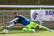 Forest Green Rovers goalkeeper Sam Russell(23) warming up during the Pre-Season Friendly match between Shortwood United and Forest Green Rovers at Meadowbank Ground, Nailsworth, United Kingdom on 14 July 2017. Photo by Shane Healey.