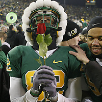 Oregon's Dion Jordon is smelling roses after the Ducks defeated Oregon State 37-33 in the 113th Civil War game, in Autzen Stadium, on Thursday, Dec. 3 2009.