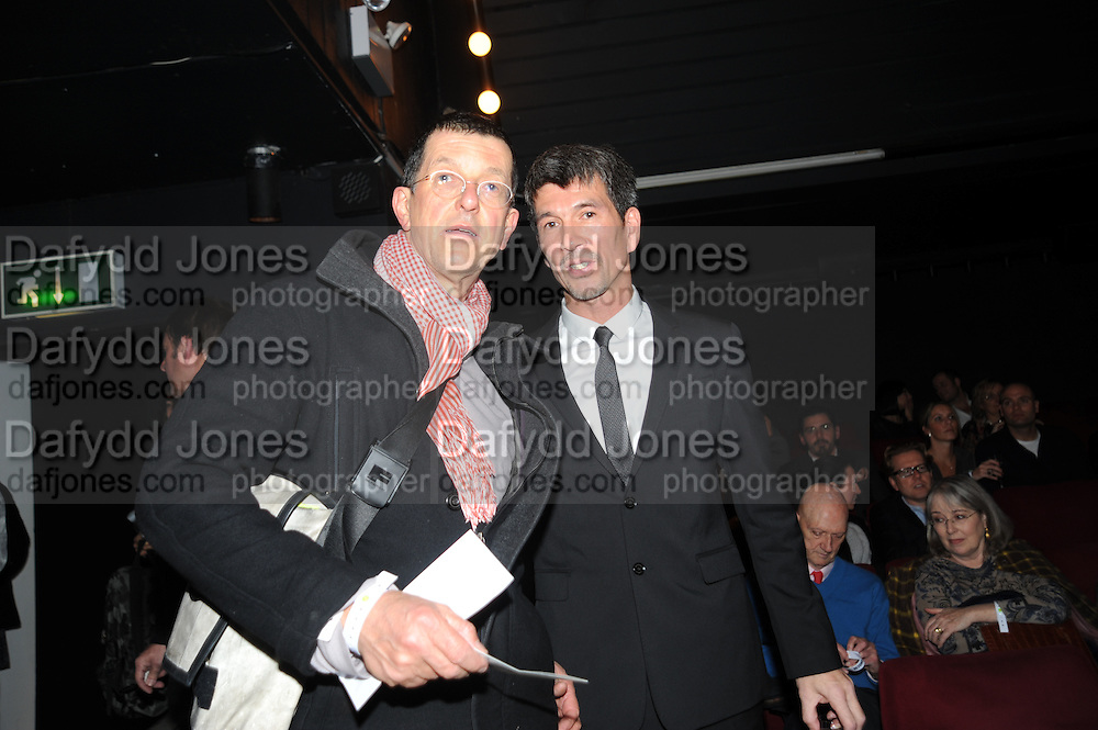 ANTONY GORMLEY; ALEX TURNBULL, Vanity Fair  hosted  UK Premiere and party for Beyond Time. A film about the artist William Turnbull made by his son Alex Turnbull. Narrated by Jude Law. I.C.A. London. 17 November 2011<br /> <br />  , -DO NOT ARCHIVE-© Copyright Photograph by Dafydd Jones. 248 Clapham Rd. London SW9 0PZ. Tel 0207 820 0771. www.dafjones.com.