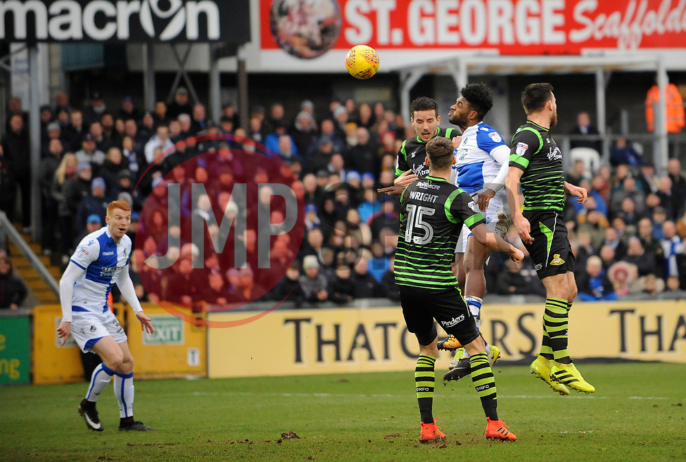 Ellis Harrison of Bristol Rovers gets a header away - Mandatory by-line: Neil Brookman/JMP - 23/12/2017 - FOOTBALL - Memorial Stadium - Bristol, England - Bristol Rovers v Doncaster Rovers - Sky Bet League One