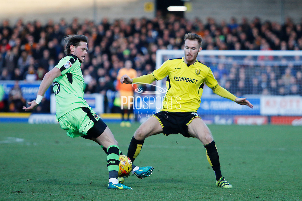 Wolverhampton Wanderers defender Richard Stearman (5) and Burton Albion midfielder Tom Naylor (15) during the EFL Sky Bet Championship match between Burton Albion and Wolverhampton Wanderers at the Pirelli Stadium, Burton upon Trent, England on 4 February 2017. Photo by Richard Holmes.