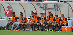 CHICAGO, USA - Sunday, July 27, 2014: Liverpool's substitutes during the International Champions Cup Group B match against Olympiacos at the Soldier Field Stadium on day seven of the club's USA Tour. (Pic by David Rawcliffe/Propaganda)