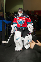 KELOWNA, CANADA - OCTOBER 25: Jackson Whistle #1 of Kelowna Rockets walks to the ice from the dressing room at the start of the game against the Brandon Wheat Kings on October 25, 2014 at Prospera Place in Kelowna, British Columbia, Canada.  (Photo by Marissa Baecker/Getty Images)  *** Local Caption *** Jackson Whistle;