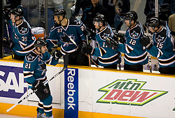 April 16, 2010; San Jose, CA, USA; San Jose Sharks center Scott Nichol (21) celebrates with his teammates after scoring a goal against the Colorado Avalanche during the second period of game two in the first round of the 2010 Stanley Cup Playoffs at HP Pavilion.  The Sharks defeated the Avalanche 6-5 in overtime. Mandatory Credit: Jason O. Watson / US PRESSWIRE
