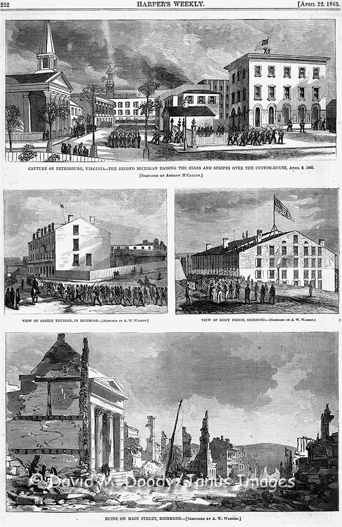 Civil War : Destruction in Richmond and Petersburg, Union forces occupy the capitol of the Confederacy. Libey Prison and Castle Thunder Prison where Union Prisoners of War (POWs) were held in Richmond. Virginia Harper's Weekly April 22, 1865