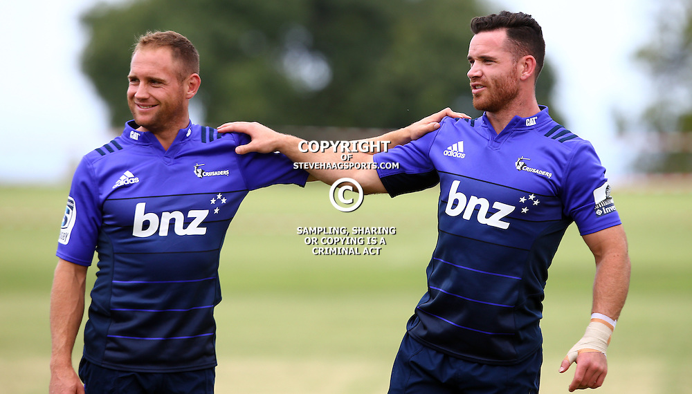 DURBAN, SOUTH AFRICA, 24,MARCH, 2016 - Andrew Ellis with Ryan Crotty of the BNZ Crusaders during The Crusaders training session  at Northwood School Durban North in Durban and the Crusaders Media conference, South Africa. (Photo by Steve Haag)<br /> <br /> images for social media must have consent from Steve Haag