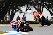 World Moto GP Championship.<br /> Round16.Phillip Island.Australia.Friday14.10.2011<br /> #27 Casey STONER (AUS) Repsol Honda Team<br /> Rides on the inside of Valentino ROSSI (Ita) Marlboro Ducati.<br /> © ATP Photo/ Damir IVKA<br /> <br />  - Motorrad-WM - MotoGP in Australien - Motorrad - Motorradsport - Grand Prix in Phillip Island - Motorcycle racing -<br /> - fee liable image - Photo Credit: © ATP / Damir IVKA