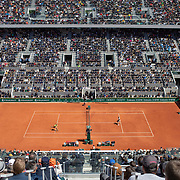 PARIS, FRANCE June 07.  A general view of Rafael Nadal of Spain in action against Roger Federer of Switzerland on Court Philippe-Chatrier during the Men's Singles Semifinals match at the 2019 French Open Tennis Tournament at Roland Garros on June 7th 2019 in Paris, France. (Photo by Tim Clayton/Corbis via Getty Images)