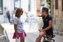 Lauren Stephens (USA) and Virtu Cycling DS, Carmen Small chat before Emakumeen Bira 2018 - Stage 2, a 26.6 km time trial from Agurain to Gasteiz, Spain on May 20, 2018. Photo by Sean Robinson/Velofocus.com
