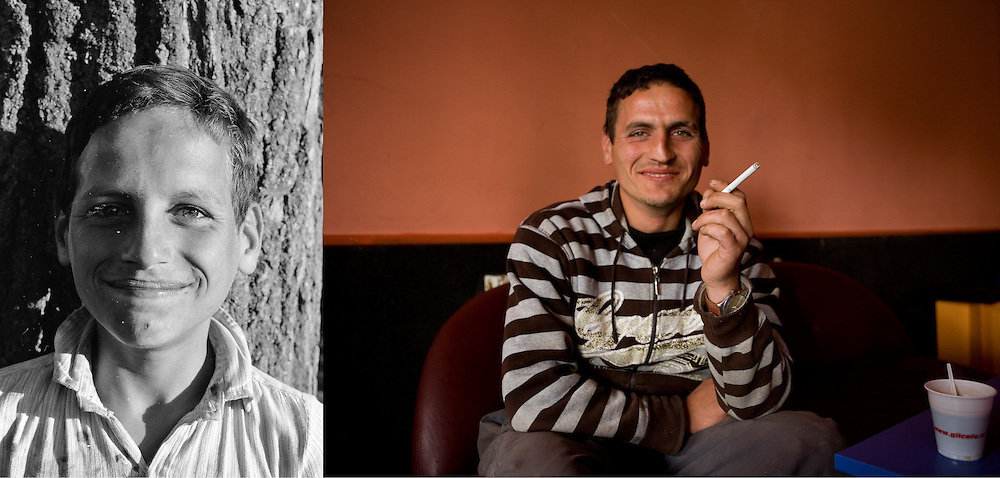 Constantin in 1995 when he was 10 and in October 2009 enjoying a coffee and a cigarette at the local bar in Popricani. Constantin never left the village. He works as a builder and rents a room in a house in front of the ex-orphanage. He knows the family since childhood.